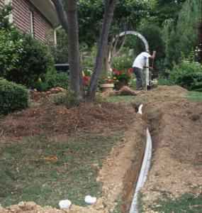 a new line being laid by an Antioch Sprinkler Installation team